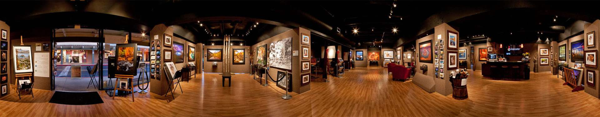 Aperture academy panoramic view of inside of gallery